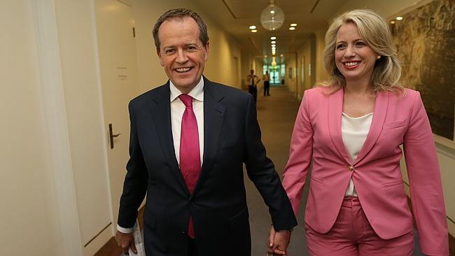 New Labor Opposition Leader Bill Shorten with his wife Chloe Shorten in Parliament House in Canberra.