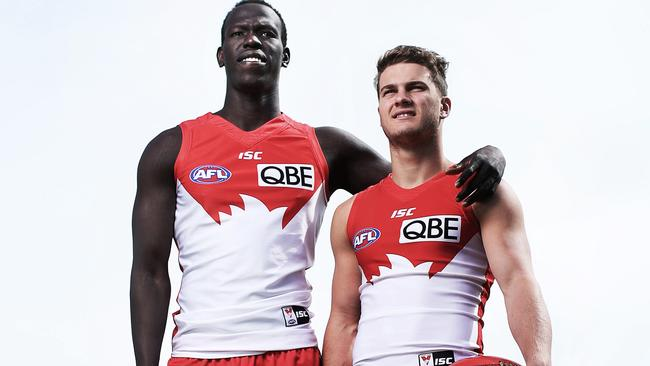 Aliir Aliir and Tom Papley will play in Friday's preliminary final against Geelong. Picture. Phil Hillyard