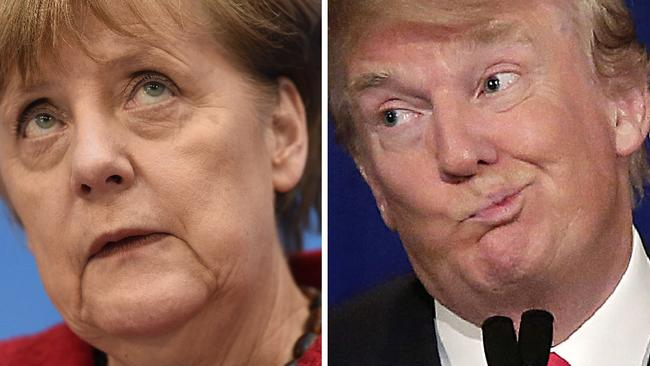 German Chancellor Angela Merkel (left) has lashed out at Donald Trump. Picture: AFP/Odd Andersen and Joshua Lott