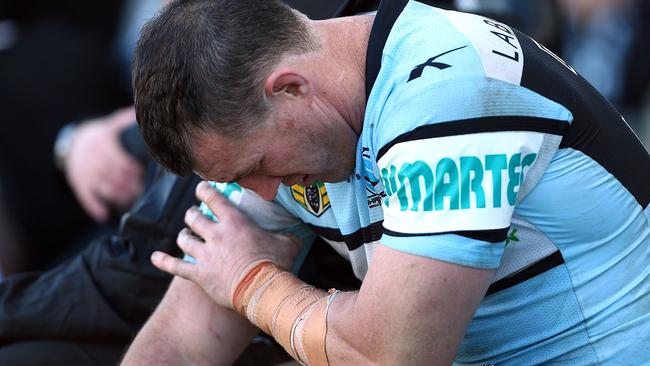 Paul Gallen nurses a bicep injury picked up against the Knights. Pic: Renee McKay