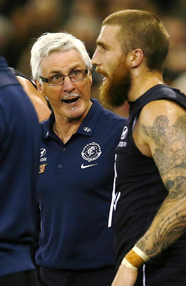Malthouse gives Zac Tuohy another spray. Picture: Michael Klein