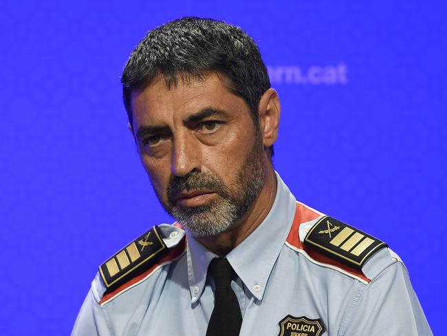 "Josep Lluis Trapero, chief of the Catalan regional police ""Mossos D'Esquadra"", takes part in a press conference at the Generalitat (Catalan Government) in Barcelona on August 20, 2017. Picture: AFP."