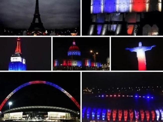 True colours ... Cities across the world have gone blue, white and red in support of France. Picture: Supplied