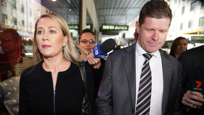 Former Charlestown MP Andrew Cornwell and his wife Samantha Brookes arrive at ICAC. Picture: Cameron Richardson