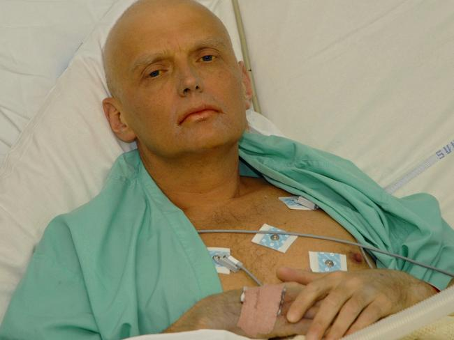 Former KGB agent Russian spy Alexander Litvinenko lies dying in his hospital bed at University College Hospital in London in 2006.