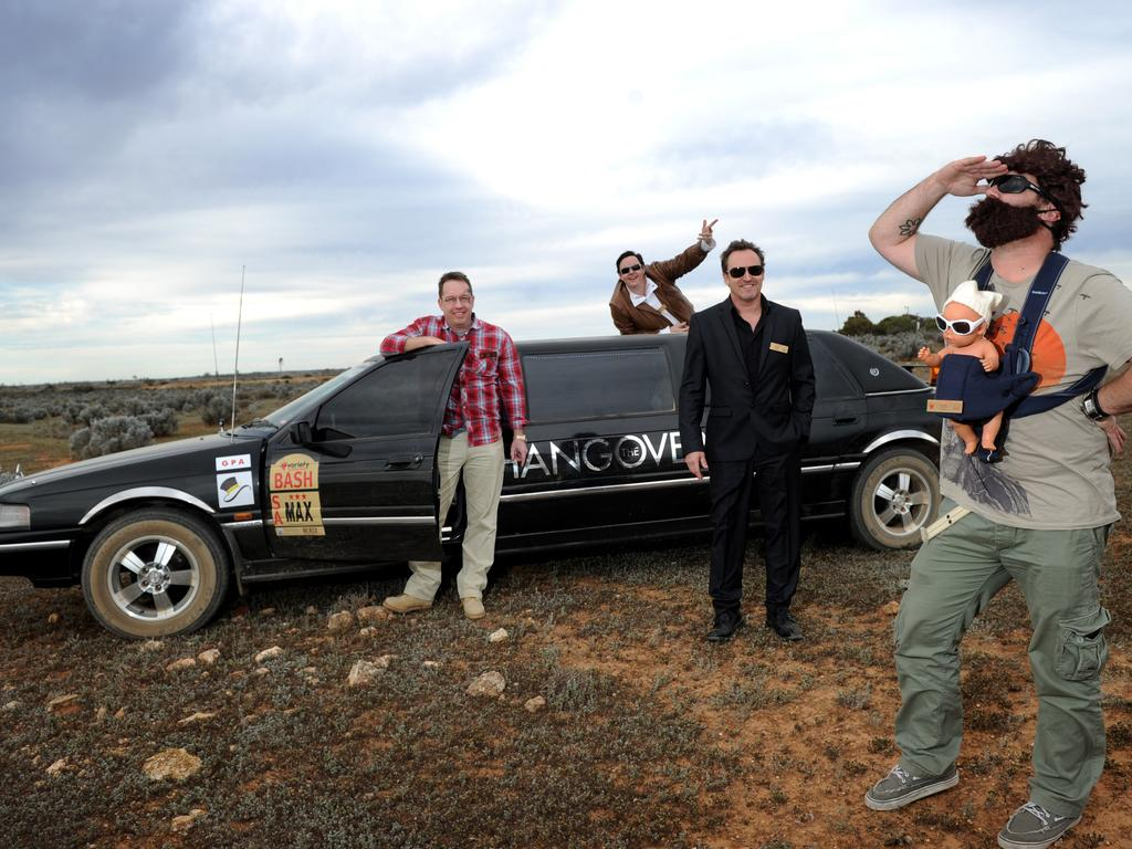Team Hangover seem to have lost their way in their limousine near Nanua in western NSW. Photo Naomi Jellicoe