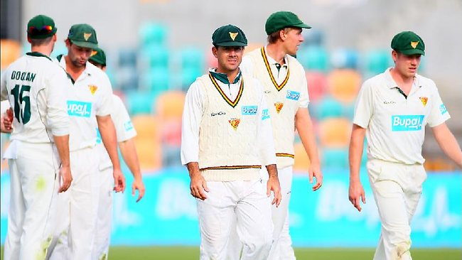 Ricky Ponting's Tasmanian Tigers are in a strong position in the Shield final. Picture: Luke Bowden