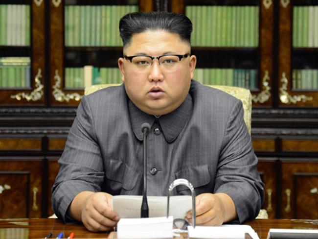 Kim Jong-un has hit back after Donald Trump signed a new order, seen in an image released by Korean Central News Agency on September 22, 2017. Picture: KCNA