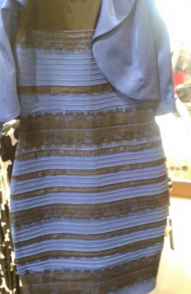 This dress caused a huge debate in February 2015 over whether or not it was blue and black, or white and gold. Picture: Twitter