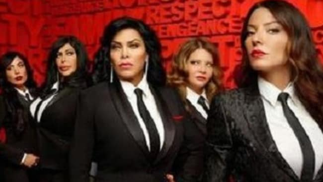 Hit Show ... Big Ang, second from left, with the cast of Mob Wives. Picture: Supplied