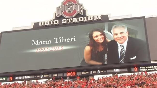 More than 100,000 Ohio State fans stood in silence in Maria's honour. (Pic: YouTube/WBNS10TV)