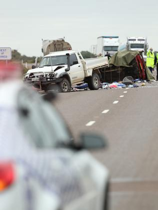 Police and emergency service workers at the scene of a crash, where two people died on the Augusta Highway at Miranda, about 30km south of Port Augusta. Picture: Tait Schmaal