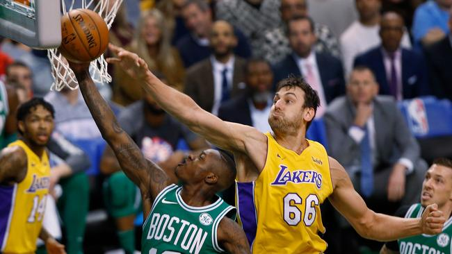 Andrew Bogut's last stint in the NBA was with the Los Angeles Lakers.