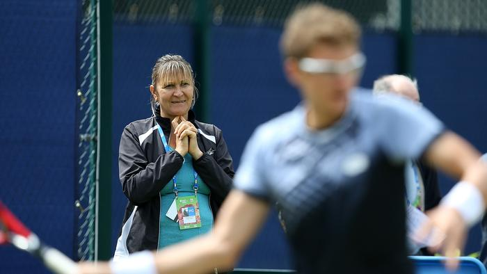 NOTTINGHAM, ENGLAND - JUNE 25: Mother and coach of Denis Istomin of Uzbekistan, Klaudiya Istomin, looks on during a ptactise session on day five of the Aegon Open Nottingham at Nottingham Tennis Centre on June 25, 2015 in Nottingham, England. (Photo by Jan Kruger/Getty Images for LTA)