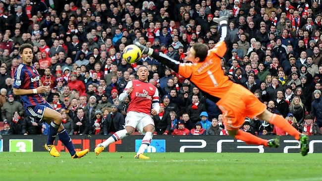 Arsenal's Alex Oxlade-Chamberlain (C) see' his shot saved by Stoke City's goalkeeper Asmir Begovic at the Emirates Stadium. Picture: Olly Greenwood