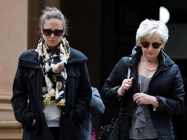 Adam Cranston's wife, Elizabeth (left), and mother Robyn (right) leave Sydney Central Local. Picture: Paul Miller