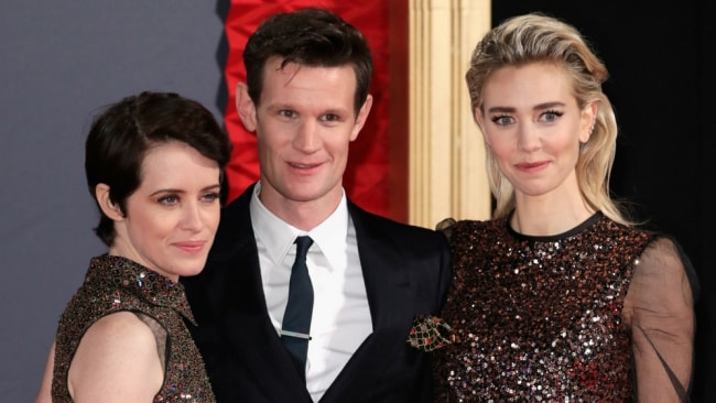 Claire Foy, Matt Smith and Vanessa Kirby at the premiere of 'The Crown'. Photo: Getty