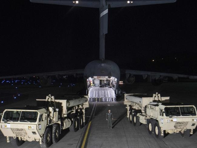 US troops have begun delivering a missile defence system to a site in South Korea. Picture: AFP/US Department of Defence