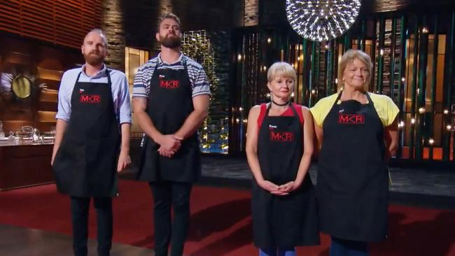 Dessert off. It was Tim and Kyle v Karen and Ros on MKR tonight. Picture: Seven
