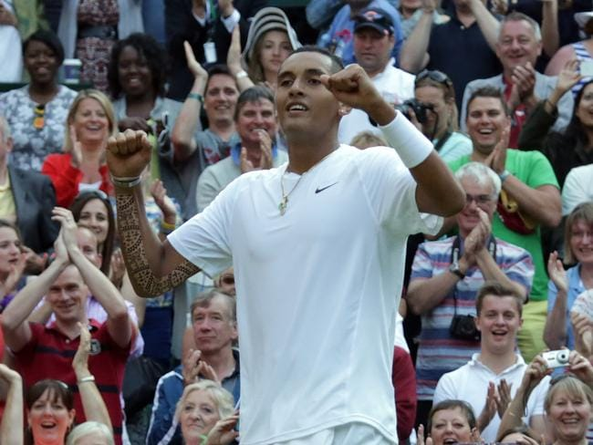 Wimbledon, London, UK. 01 July 2014. Nick Kyrgios wins against Rafael Nadal in the fourth round in four sets. Pic. Ella Pellegrini