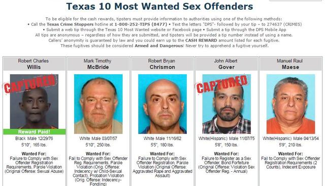Sex offender registry texas