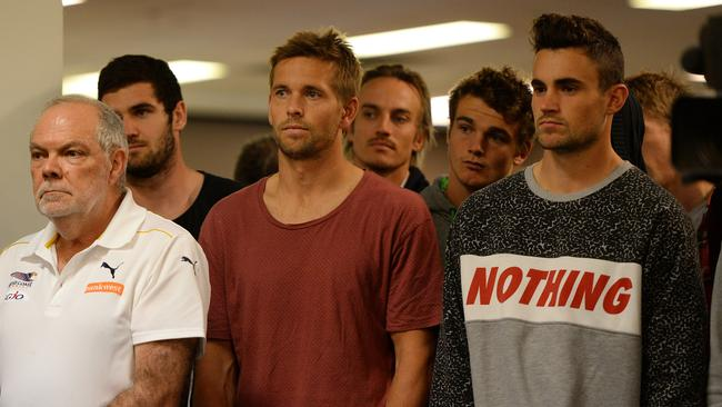 Eagles players and staff watch on at Darren Glass' retirement press conference. Picture: Daniel Wilkins