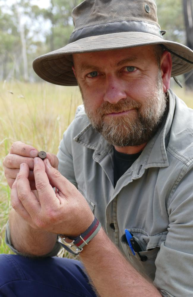 Adam Ford holding the cartridge believed to have been shot by the Kenniff brothers. Picture: Foxtel