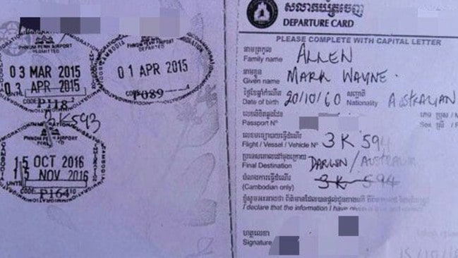 Mark Allen's passport showed he had flown into Cambodia via Darwin and had also visited in March this year. Picture: Cambodian Police