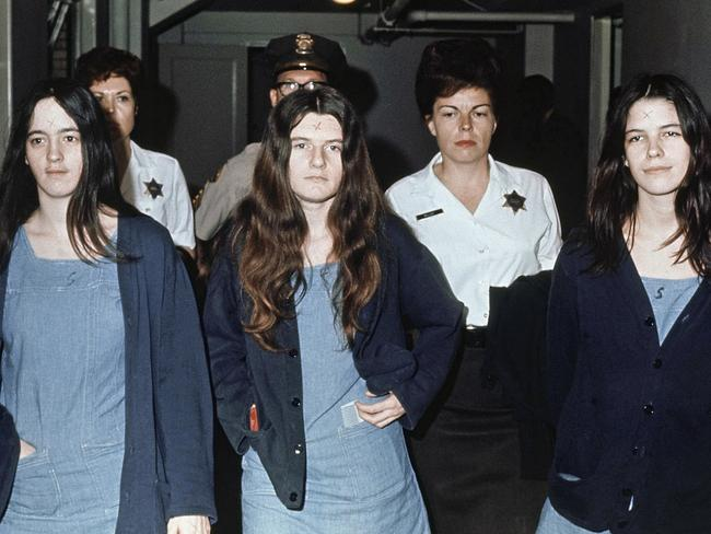 This March 29, 1971, file photo shows three female defendants in the Manson murder trial, from left, Susan Atkins, Patricia Krenwinkel and Leslie Van Houten. All three, plus Charles Manson, were convicted of murder. Picture: AP.