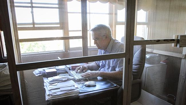 "Professor James McCaughan sit in his ""Faraday Cage'' at his home."