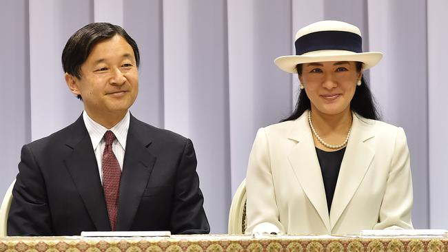 Crown Prince Naruhito and Crown Princess Masako at the send-off event for the Japanese national team for Rio 2016 Olympics at Yoyogi National Gymnasium on July 3, 2016 in Tokyo, Japan. Picture: Atsushi Tomura/Getty Images.