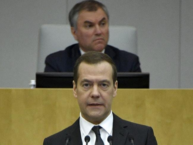Russia's parliament speaker Vyacheslav Volodin is seen behind Russian Prime Minister Dmitry Medvedev. Picture: AFP