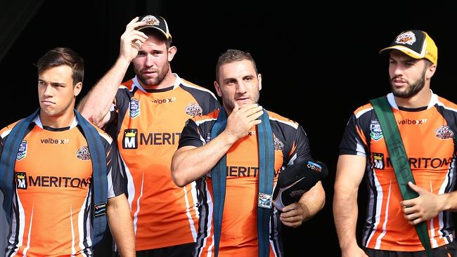 Luke Brooks, Pat Richards, Robbie Farah and James Tedesco come out for Wests Tigers training. Picture: Mark Evans