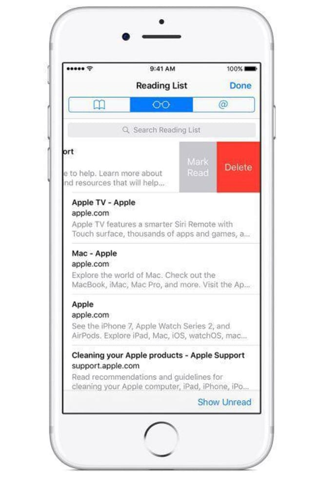This is what the Reading List looks like in Safari, the default Apple web browser. Picture: Supplied