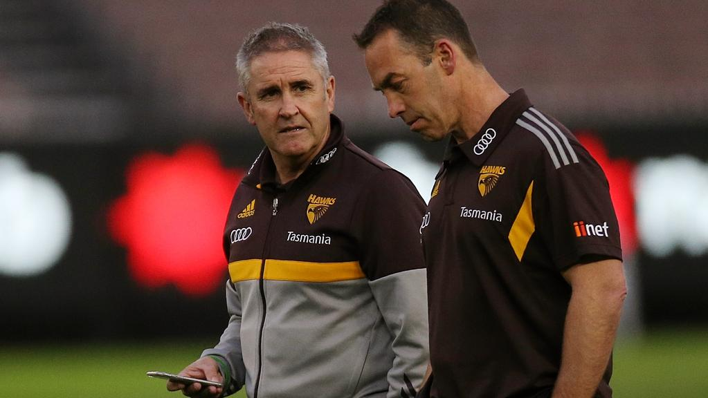 Brisbane coach Chris Fagan in his Hawthorn days with coach Alastair Clakson. Picture: Wayne Ludbey