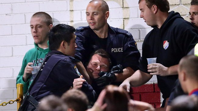 Sydney United FC fan gets taken away by police after a firecracker was let off. Picture: Gregg Porteous