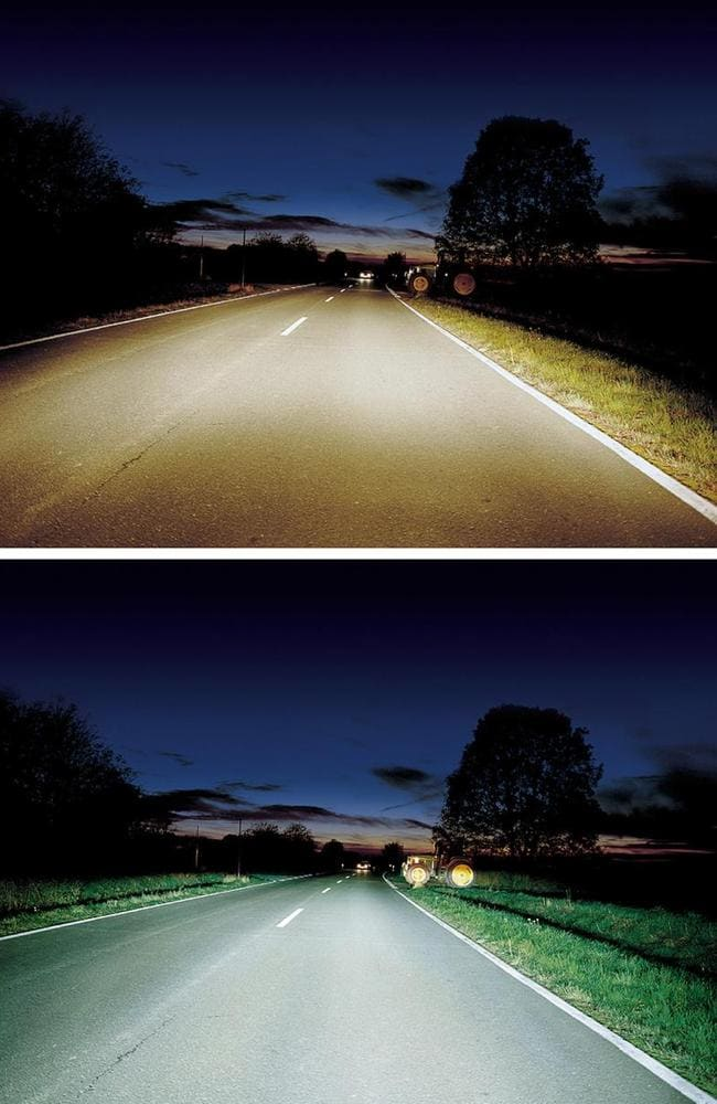 Light comparison between traditional headlights and modern HID (or xenon) headlights.