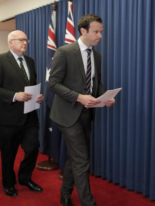 Senator Canavan made a short statement about his new-found Italian citizenship. Picture: AAP