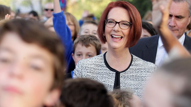 Prime Minister Julia Gillard with SA Premier Jay Weatherill at Mitcham Primary School to sign the state to the Gonski school reform. She told reporters there she would not be taking question on yesterdays interview with Howard Sattler. Picture: Kelly Barnes