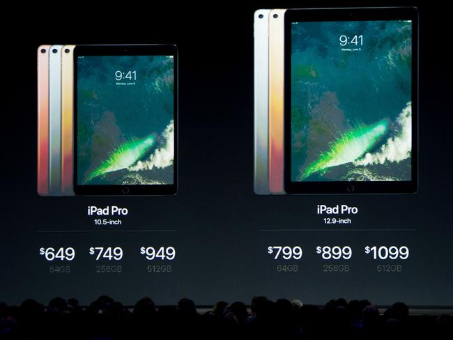 Prices for the new iPad Pro models are shown on stage during Apple's World Wide Developers Conference. Picture: Josh Edelson