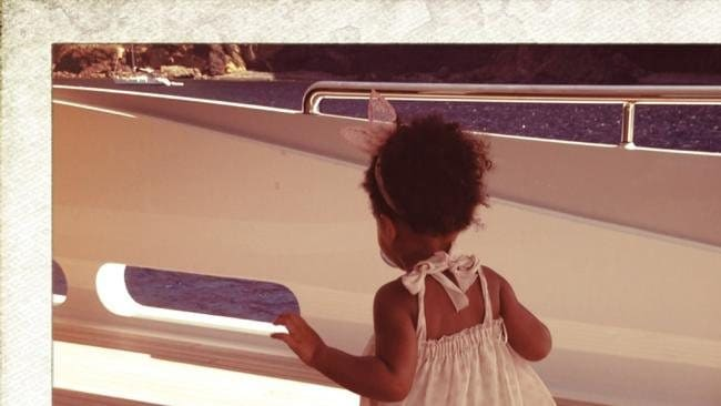 Blue Ivy getting her sea legs aboard a luxury yacht. Photo: Supplied/Tumblr