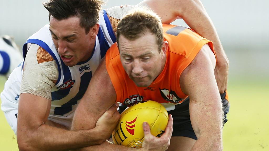 Steve Johnson was concussed in GWS' big win over North Melbourne. Picture: Getty Images