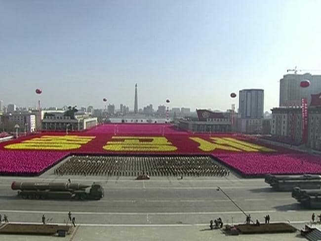 North Korea's parade had intercontinental ballistic missiles on show. Picture: KRT/AP