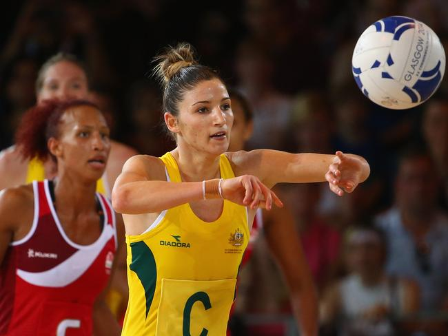 Kimberley Ravaillion of Australia releases the ball in the thriller against England.