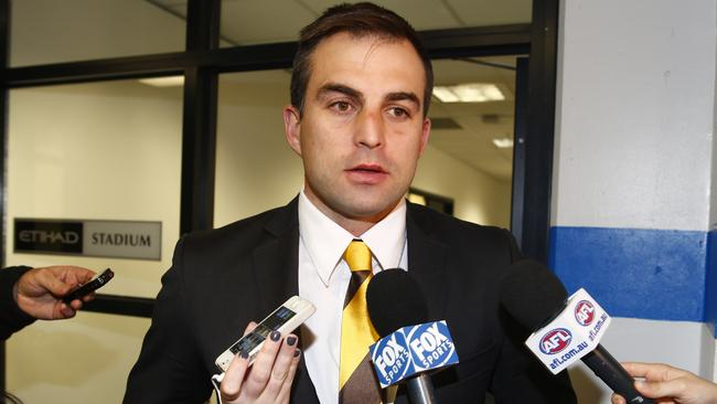 Hawk Brian Lake fronts the media after his tribunal hearing. Picture: Michael Klein