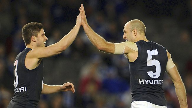 Carlton stars Marc Murphy (left) and Chris Judd are a formidable midfield duo, but can they combine with the Blues' other midfielders to topple the Magpies? Picture: Michael Dodge