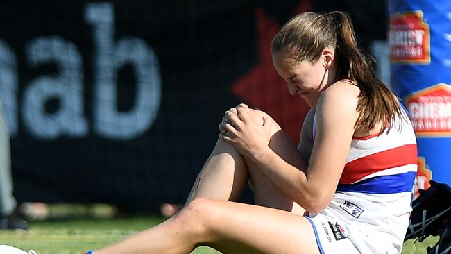 Bulldog Isabel Huntington appeared to suffer a serious knee injury. Pic: Getty Images