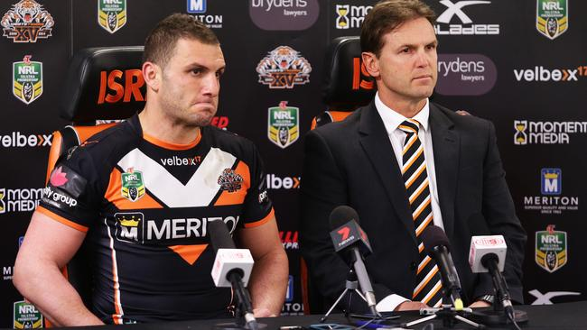 Robbie Farah and Mick Potter have been through the wringer since this press conference. Pic: Brett Costello