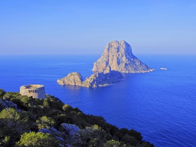 Famous tower of Savinar on Ibiza Island.