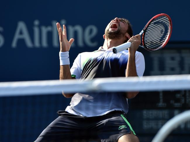 Marin Cilic celebrates his victory.